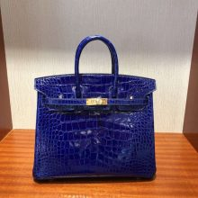 Luxury Hermes 7T Blue Electric Shiny Crocodile Birkin25CM Gold Hardware