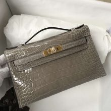 Fashion Hermes Shiny Crocodile Minikelly Pochette in CK81 Gris Tourterelle Gold Hardware