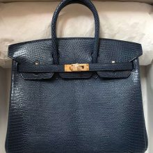 Hand Stitching Hermes CK73 Blue Saphir Lizard Leather Birkin25CM Tote Bag Gold Hardware