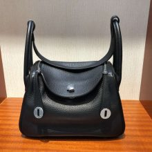 Discount Hermes Lindy26CM Shoulder Bag in Black Togo Calf Orange inner Silver Hardware