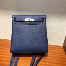 New Arrival Hermes Blue Saphir TC Calf Kelly Ado Backpack Shoulder Bag Silver Hardware