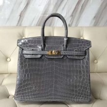 Fashion Hermes 4Z Gris Mouette Shiny Crocodile Birkin25CM Handbag Gold Hardware