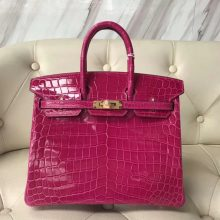 Discount Hermes Shiny Crocodile Birkin25CM Tote Bag in J5 Rose Scheherazade Gold Hardware