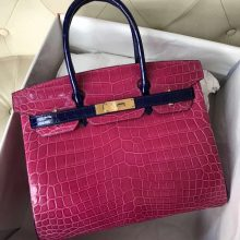 New Arrival Hermes Birkin Bag30CM in J5 Hot Pink/7T Blue Electric Shiny Crocodile Gold Hardware