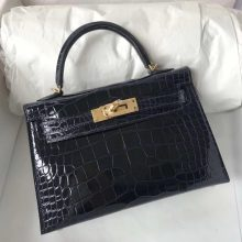 Elegant Hermes Shiny Crocodile Minikelly-2 Evening Bag in 7K Blue Saphir Gold Hardware