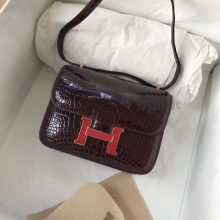 Elegant Hermes Constance Bag18CM  in CK57 Bordeaux Shiny Crocodile Leather Lizard Gold Hardware