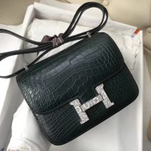 Sale Hermes 1T Vert Tipien Alligator Matt Crocodile Constance18CM Shoulder Bag Lizard Silver Hardware
