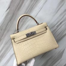 New Arrival Hermes Y1 Vanille Alligator Matt Crocodile Minikelly-2 Evening Bag Silver Hardware