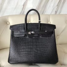 Noble Hermes CK89 Black Matt Crocodile Birkin25CM Tote Bag Silver Hardware