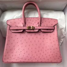 Pretty Hermes 1Q Rose Confetti Ostrich Leather Birkin Bag25CM Gold Hardware