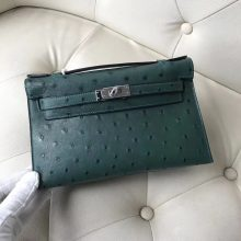 Fashion Hermes Z6 Malachite Green KK Ostrich Minikelly22CM Evening Clutch Bag Silver Hardware