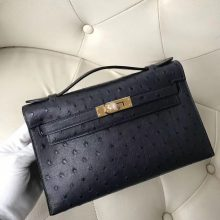 Wholesale Hermes KK Ostrich Leather Minikelly Pochette 22CM in 2Z Midnight Blue Gold Hardware