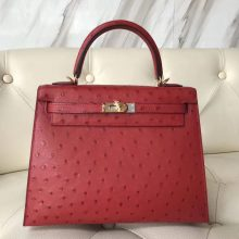 Pretty Hermes Q5 Rouge Casaque Ostrich Leather Kelly25CM Tote Bag Gold Hardware