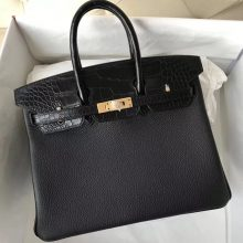 Elegant Hermes Black Crocodile Leather/Togo Leather Birkin Bag25CM Gold   Hardware