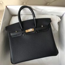 New Arrival Hermes 6O Vert Cypres Togo Leather Birkin25CM Tote Bag Gold Hardware
