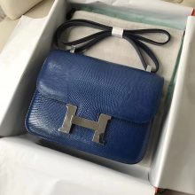 Discount Hermes 7Q Blue Mykonos Lizard Leather Constance23CM Shoulder Bag Silver Hardware