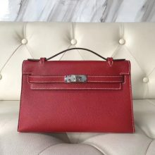Wholesale Hermes Q5 Rouge Casaque Epsom Calf Minikelly Clutch Bag Silver Hardware