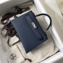 Discount Hermes 1P Blue Colvert Epsom Calf Minikelly-2 Clutch Bag Silver Hardware