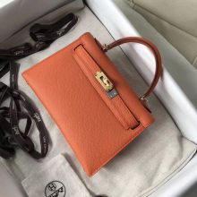 Hand Stitching Hermes Epsom Calf Minikelly-2 Clutch Bag in 93 Orange Gold Hardware