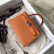 Fashion Hermes 93 Orange Epsom Calf Leather Minikelly-2 Evening Bag Silver Hardware