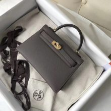 Sell Hermes Minikelly Clutch Bag in 8F Etain Grey Epsom Calf Leather Gold Hardware