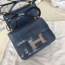 Luxury Hermes 7N Blue Tampete Shiny Crocodile Constance Shoulder Bag18CM  Silver Hardware