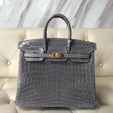 Sale Hermes 8U Blue Glacier Shiny Crocodile Birkin25CM Handbag Gold Hardware
