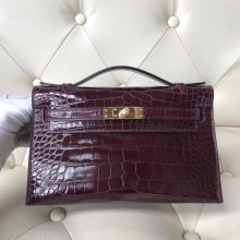 Luxury Hermes CK57 Bordeaux Red Shiny Crocodile Leather Minikelly22CM Clutch Bag Gold Hardware