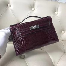 Wholesale Hermes Shiny Crocodile Minikelly Evening Bag in CK57 Bordeaux Red Silver Hardware