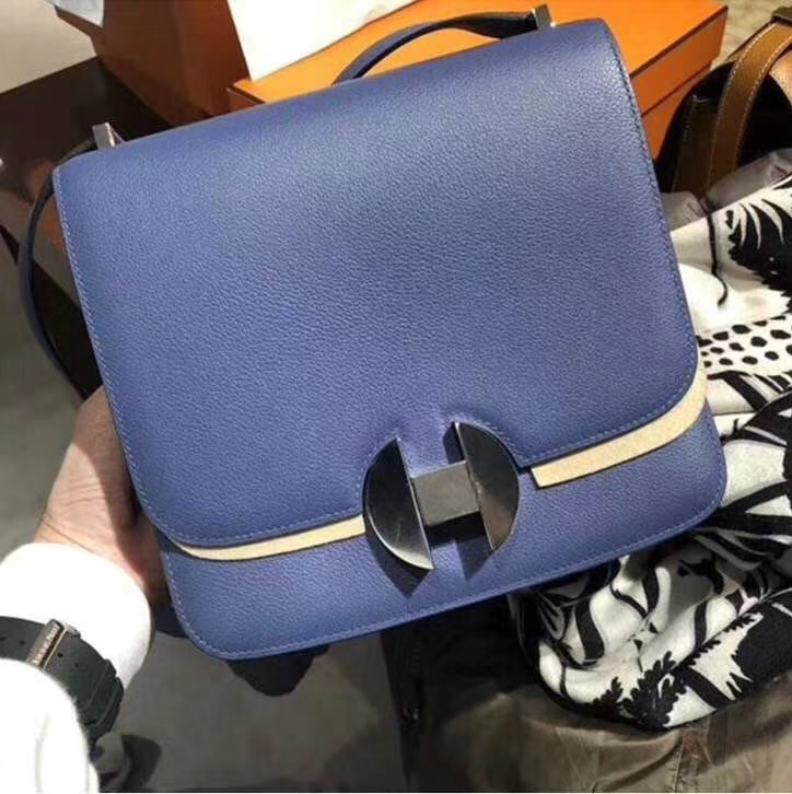 New Arrival Hermes 7E Blue Brighton Evecolor Calf 2002 New Constance Bag20CM Silver Hardware