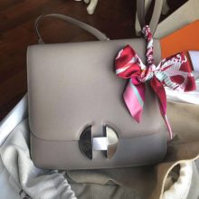 Fashion Hermes Gris Ashpite Evecolor Calf 2002 Constance Shoulder Bag20CM Silver Hardware