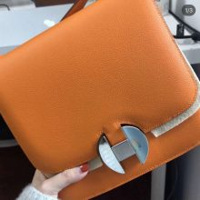 Wholesale Hermes Orange Evecolor New Constance 2002 Shoulder Bag20CM Silver Hardware