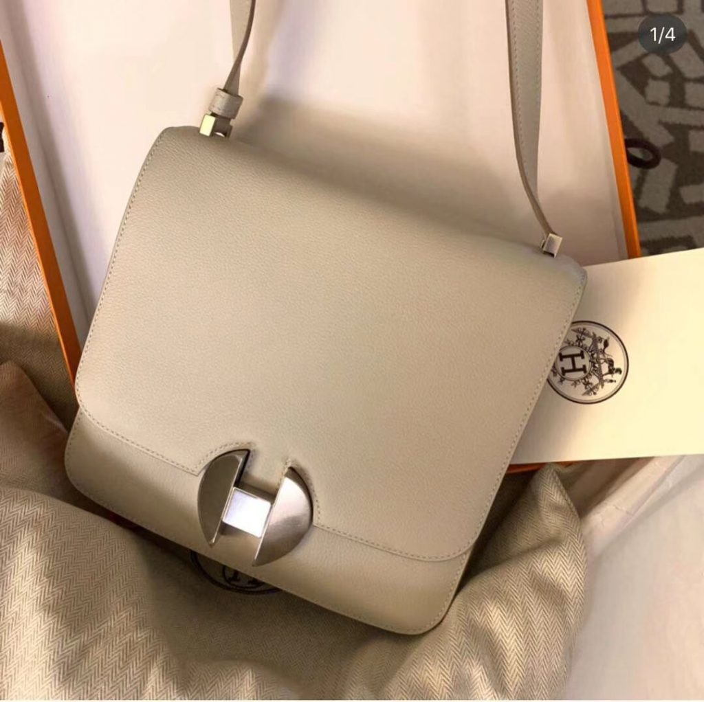 Discount Hermes Evecolor Calf New 2002 Constance20CM Bag in  Trench Grey Silver Hardware