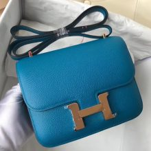 Elegant Hermes 7W Blue Izmir/U4 Vert Verigo inner Constance18CM Shoulder Bag  Rose Gold Hardware