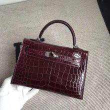 Luxury Hermes CK57 Bordeaux Red Alligator Shiny Crocodile Minikelly-2 Clutch Bag Silver Hardware