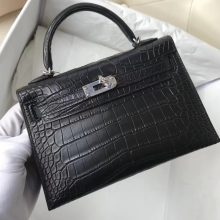 Wholesale Hermes Matt Crocodile Minikelly-2 Evening Bag in CK89 Noir Silver Hardware