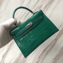 Sale Hermes 6Q Emerald Green Alligator Shiny Crocodile Minikelly-2 Clutch Bag Silver Hardware