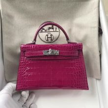 Hermes Shiny Crocodile Minikelly-2 Clutch Bag in J5 Rose Scheherazade Silver Hardware