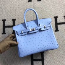 New Arrival Hermes Pinkish Blue Ostrich Leather Birkin25CM Tote Bag Silver Hardware