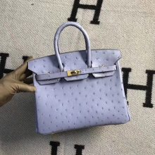Discount Hermes Ostrich Leather Birkin Bag25CM in Grey Blue Gold Hardware