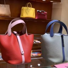 Wholesale Hermes Picotin Bag Rouge Garance& Rose Sakura/Blue Lin&Blue Agate Clemence Calf