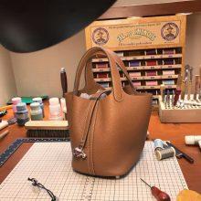 Discount Hermes 2H Kraft Clemence Calf Picotin Bag Women's Handbag Silver Hardware