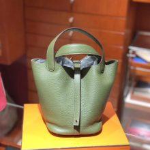 Luxury Hermes Picotin Bag18/22CM in V6 Vert Canopee Clemence Calf Silver Hardware