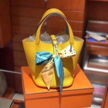 Luxury Hermes 9V Jaune d'or Clemence Calf Picotin18/22CM Bag Silver Hardware