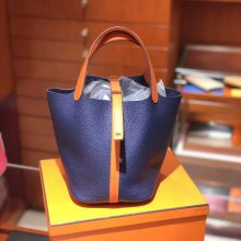 Wholesale Hermes Blue Electric & Orange Clemence Calf Picotin Bag Silver Hardware