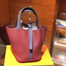 Discount Hermes Rouge Grenade & Blue Electric Clemence Calf Picotin Bag Silver Hardware