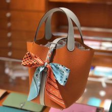 Sale Hermes Picotin Bag18/22CM in Orange & Gris Pearl Clemence Calf Silver Hardware