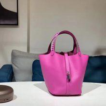 Pretty Hermes J5Rose Scheherazade Epsom Calf Woven Handle Picotin Bag18/22CM