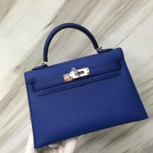 Elegant Hermes I7 Blue Zellige Epsom Calf Minikelly-2 Evening Bag19CM Silver Hardware
