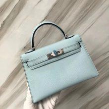 Sale Hermes U2 Blue Zephyr Epsom Calf Minikelly-2 Mini Tote Bag Clutch Bag Silver Hardware